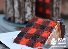 Lumberjack Tree Trunk Cake Sports Edible Ax and Plaid Interior - My Modern Met