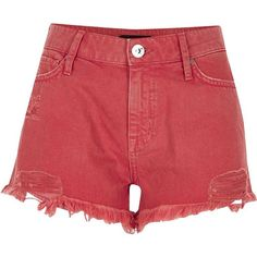 River Island Orange distressed denim hot pants ($56) ❤ liked on Polyvore featuring shorts, bottoms, denim shorts, orange, women, destroyed jean shorts, mini shorts, jean shorts, short jean shorts and ripped shorts