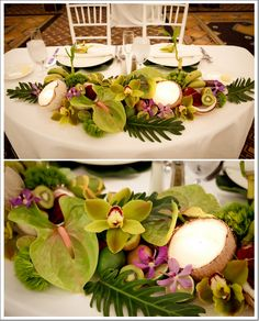 Hawaiian Themed Wedding Again, love the fruit and flowers centerpiece!Again, love the fruit and flowers centerpiece! Tropical Centerpieces, Beach Wedding Centerpieces, Luau Wedding, Hawaii Wedding, Flower Centerpieces, Wedding Table, Wedding Decorations, Wedding Ideas, Trendy Wedding