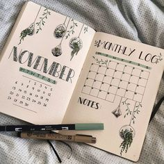 Monthly log bullet journal