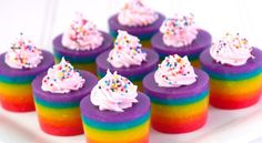 Double Rainbow Cake Jelly Shot  http://rock-ur-party.tablespoon.com/2011/08/31/double-rainbow-cake-jelly-shot/  Definitely going to make these!