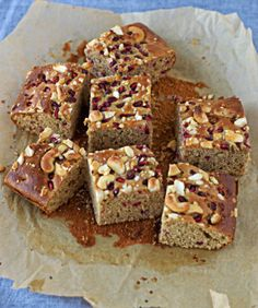 White-Chocolate Tahini Cake with Pomegranate and Cashews