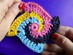 Вязание крючком  Урок 224 Спираль Crochet Spiral square motif