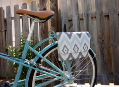 Bicycle Handlebar Bag in Blue Diamond by MercyandRuthHandbags, $72.00