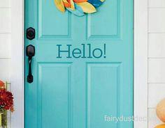 Hello Decal front door decal vinyl letters for entrance hello sticker for door & Hello Door Decal front door vinyl letters hello greeting for home ...