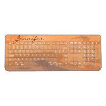 Orange Autumn Sunset Abstract Wireless Keyboard