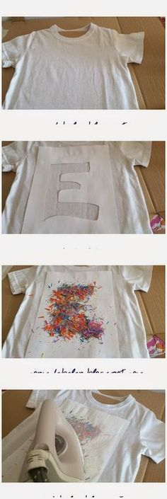 Un tutorial muy sencillo: Cómo decorar camisetas<<<<imma translate: a tutorial somethin somethin: to decorate shirts. Sorry I only took one year of spanish! Diy And Crafts, Crafts For Kids, Arts And Crafts, Diy Vetement, Diy Shirt, Diy Tshirt Ideas, Diy Tank, Diy Clothing, Refashion