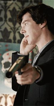 #Sherlock   Sherlock,just casually talking to someone on the phone while pointing a gun at someone..seems like Sherlock. - The wolf that kills