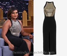 Mindy wearing plenty of seasonal sparkle on Fallon last night!