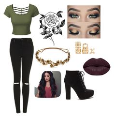 """""""poison ivy inspired outfit 1"""" by jocelynpm on Polyvore featuring LE3NO, Topshop, Forever 21, Winky Lux and Jennifer Behr"""