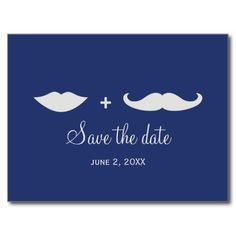 Stylish Mustache and Lips Save the Date Post Card