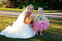 Coral flower girl tutu - Peanut and Friends - Rustic outdoor wedding