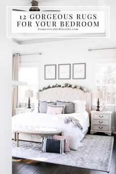 12 Gorgeous Rugs for Your Bedroom that are neutral and look beautiful! | Master bedroom rugs that are beautiful. | Neutral rugs for your home. | Large rug for under the bed. | Grey and ivory rug. | Ivory and grey rug. | White bedroom with neutral colors. | Tray ceiling in the bedroom. | Windows on either side of the upholstered bed. | Bench at the foot of the bed. | Cream nightstands with dark wood lamps. | Bedroom rug inspiration for your home. Modern Bedroom, Bedroom Decor, White Bedroom, Bedroom Rugs, Bedroom Windows, Bedroom Ideas, Master Bedroom, Bedroom Curtains, Calm Bedroom