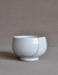 Gintsugi Korean Joseon White Porcelain Bowl