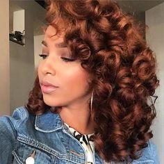 """naturalhairqueens: """"love her hair color wow """" Love Hair, Big Hair, Gorgeous Hair, Cabello Afro Natural, Pelo Natural, Weave Hairstyles, Pretty Hairstyles, Black Hairstyles, Roller Set Hairstyles"""