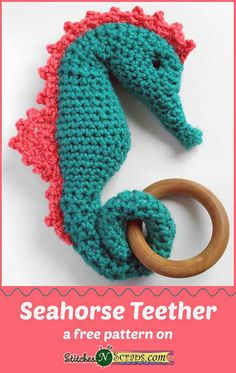Made with Baby Hugs - so soft and squishy! Seahorse Teether - a free pattern on StitchesNScraps.com