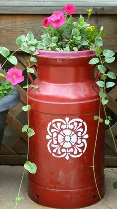 s 11 charming things you can do with an old milk can, crafts, Stencil It for the Perfect Planter