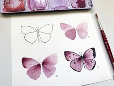by 🦋💓 more lessons - ⠀⠀⠀⠀⠀⠀ 🖌️ наш хэштег/our hashtag Easy Butterfly Drawing, Easy Flower Drawings, Sunflower Drawing, Butterfly Watercolor, Pencil Art Drawings, Watercolor Drawing, Butterfly Art, Easy Drawings, Simple Butterfly