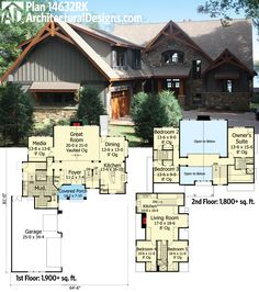 Architectural Designs Rugged Craftsman House Plan 14632RK comes with a separate in-law or guest suite over the garage. Ready when you are. Where do YOU want to build?