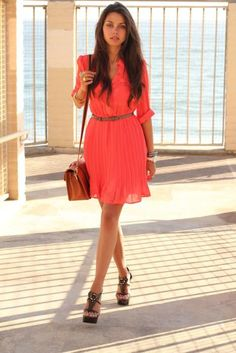 Shop this look on Kaleidoscope (dress, belt , satchel, shoes, watch , ring )  http://kalei.do/Vs3R5pIqT5EKMdSk