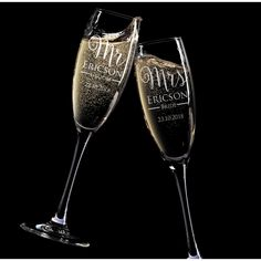 Engraved His and Hers Gift Boxed Champagne Glass Set <3