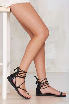 Jeffrey Campbell Adios Lace-Up Leather Sandal//