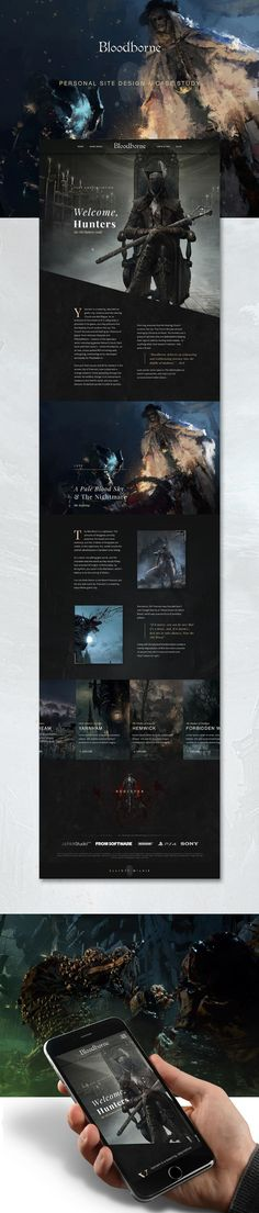 """Bloodborne - Hub Design on Behance: """"I aim was to create an effective user experience through a clean and modern site that paid tribute to a fantastic game whilst capturing the atmosphere and lovecraftian horror"""" #web #mobile #design. If you like UX, design, or design thinking, check out theuxblog.com"""