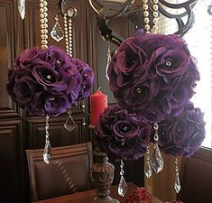 6 - 7 inch PURPLE POMANDERS, purple wedding flower balls, kissing balls, flower pomanders for weddings