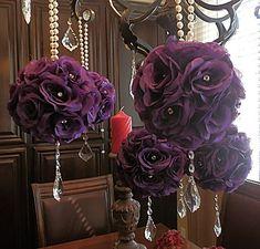 PAIR -Purple Flower Girl Pomanders , wedding flower balls, kissing balls, flower pomanders for weddings