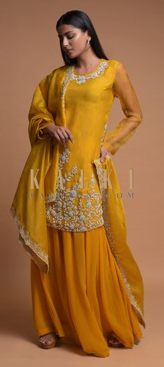 Buy Online from the link below. We ship worldwide (Free Shipping over US$100)  Click Anywhere to Tag Sun-Yellow-Palazzo-Suit-With-Zardozi-Embroidered-Floral-Pattern-Online-Kalki-Fashion Anarkali, Lehenga, Palazzo Suit, Straight Cut, Salwar Kameez, Indian Wear, Indian Fashion, Festive, Ethnic