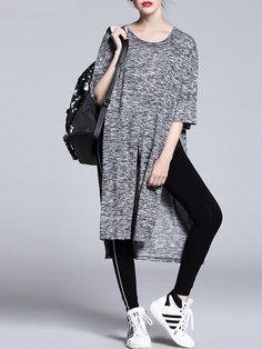 Fashion Grey Asymmetric Top