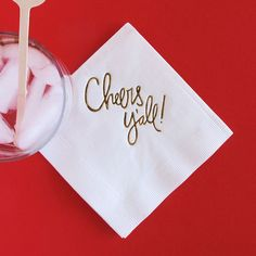 Cheers Y'all Napkins  Set of 20 by ErinHainesDesignCo on Etsy