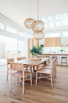 Dining Table: American Oak, Loughlin Furniture Woven Dining Chairs: GlobeWest, Seed Woven Leather, Natural Leather, Drift Flat Dining Chairs: GlobeWest, Seed Flat Leather, Natural Leather, Drift
