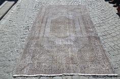 Gray oushak Rug, Turkish ushak Carpet, Handmade Grey Rug, Floor Rug, Overdyed Rug   Size  (254 cm x 153 cm)   8,3 feet x 5,0 feet model: 782 by OushakRugs on Etsy