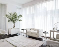 In a small space, Kevin Byrne selects white furniture, which makes any room look bigger than it is. My Living Room, Living Room Decor, Living Area, Home Renovation, Home Remodeling, Inviting Home, Custom Drapes, White Curtains, Sheer Curtains Bedroom