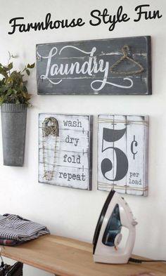 LAUNDRY SIGN SET, Laundry Room Decor, Laundry Room Decor Signs, Rustic Laundry Room decor, Laundry Sign, Wood Laundry Sign, Fixer Upper #wood #woodsigns #afflink #decorate #rustic #rusticfarmhouse #farmhouse #laundry