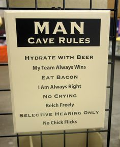 Man Cave Rules comical solid wood sign large by Frameyourstory, $32.95