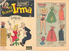 My Friend Irma: Comic Book September 1953 with paper dolls Vintage Paper Dolls, Vintage Toys, My Friend Irma, History Of Paper, Comic Book Paper, Newspaper Paper, My Funny Valentine, Doll Painting, Disney Dolls