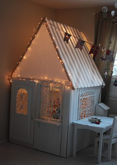 Don't forget to decorate your dolls house or the children's playhouse for added squeal appeal from the little ones