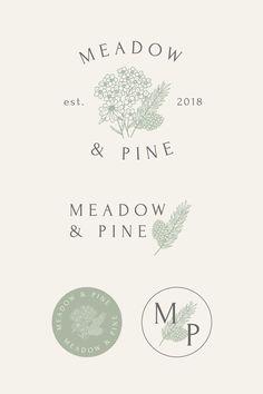 Meadow & Pine Photography - Floral logo & branding design by Bea & Bloom Creative Design Studio Logo Branding, Design Logo, Graphic Design, Design Agency, Florist Logo, Brand Book, Lettering, Typography, Logo Design Inspiration