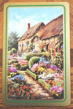 ENGLISH THATCHED COTTAGE -GOLD BORDER -SINGLE VINTAGE SWAP PLAYING CARD