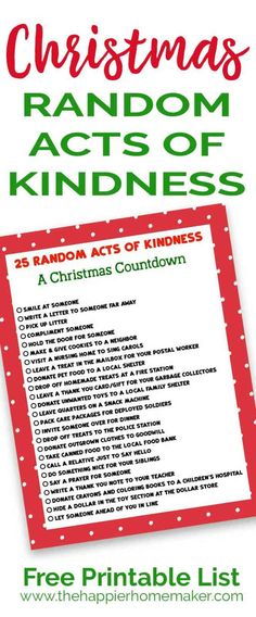 Keep the true meaning of Christmas with this printable list of 25 Random Acts of Kindness Christmas Countdown. Christmas Party Games, Outdoor Christmas Decorations, Christmas Activities, Christmas Countdown, Christmas Printables, Christmas Traditions, Family Activities, Holiday Decor, Advent For Kids