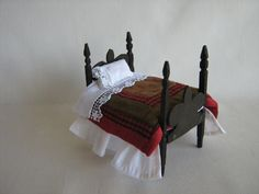 VTG Primitive Wooden Dollhouse Bed  Handmade  4 1/2 by TheToyBox