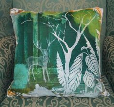 Woodland Stag Design by Blooming Bryony Small Cushions, Floral Cushions, Embroidered Cushions, Decorative Cushions, Cushions On Sofa, Throw Pillows, Contemporary Cushions, Modern Cushions, Stag Cushion