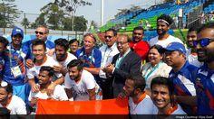 Sports Minister Vijay Goel celebrates #IND's victory over #ARG with men's #Hockey team at #Rio2016 #IndiaAtRio