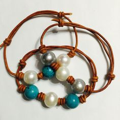 Turquoise and Pearl leather bracelets