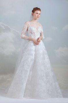 gemy maalouf 2019 bridal three quarter sleeves sheer bateau sweetheart  neckline full embellishment elegant a line wedding dress mv -- Gemy Maalouf  2019 ... f91b492f689d
