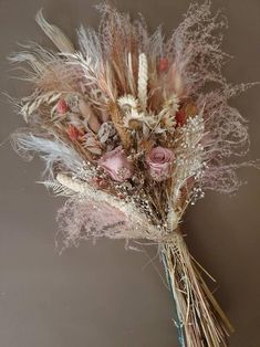 Your place to buy and sell all things handmade Tall Flower Arrangements, Tall Flowers, Pink Flowers, Flower Centerpieces, Wedding Centerpieces, Wedding Decorations, Dried Flower Bouquet, Dried Flowers, Fern Bouquet