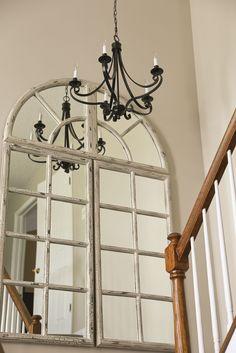 oversized mirror in entryway, revere pewter paint, Ballard Design mirror