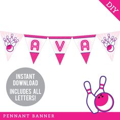 Birthday Parties - Shop by Theme - Bowling Party - Chickabug Pennant Banners, Name Banners, Party Shop, Diy Party, Party Ideas, Printable Banner, Party Printables, Happy Birthday Name, 7th Birthday
